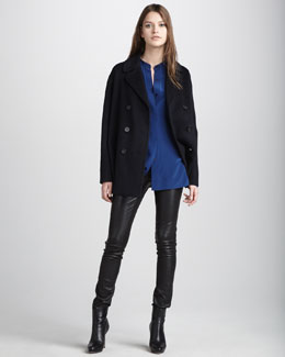 Vince Silk Two-Pocket Shirt, Double-Face Wool Pea Coat & Motocross Leather Jeans