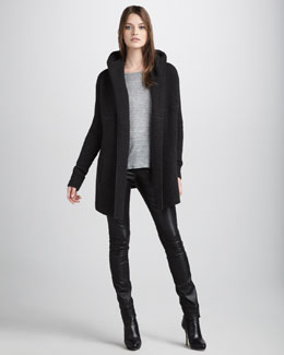 Vince Ribbed Chunky Cardigan, Slub Tee & Motocross Leather Jeans