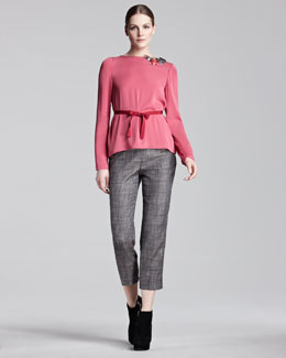 Piazza Sempione Beaded-Neck Blouse & Glen Check Audrey Pants
