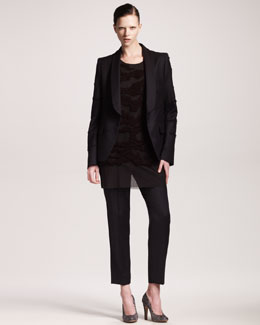 Maison Martin Margiela Tiger Embroidered Shawl-Collar Jacket, Tunic & Ankle Pants