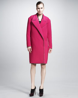 Lanvin Snap-Front Coat With Drop Shoulder & Scoop-Neck Brocade Dress