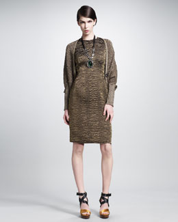 Lanvin Round-Neck Brocade Dress & Cocoon Sweater Coat
