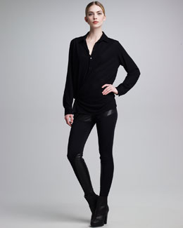 Jean Paul Gaultier Wrap-Detailed Jersey Blouse & Leather-Inset Legging