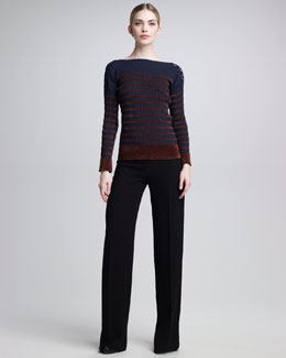 Jean Paul Gaultier Chenille-Striped Sweater & High-Waist Tuxedo Pants