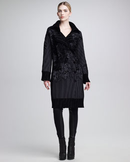 Jean Paul Gaultier Chenille-Embroidered Coat & Leather-Inset Leggings