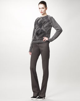 Stella McCartney Textured-Front Sweater & Straight-Leg Pants