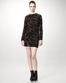 Stella McCartney Damask Sweaterdress & Chiffon-Back Pique Dress