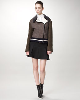 Stella McCartney Tweed Varsity Jacket, Equestrienne Blouse & Pleated Wool Skirt