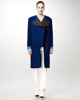 Stella McCartney Asymmetric-Zip Coat, Collarless Blouse & Damask Straight-Leg Pants