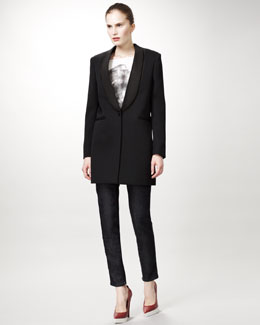 Stella McCartney Lion Tee, Tuxedo Jacket & Jeans With Faux Leather Tuxedo Stripe