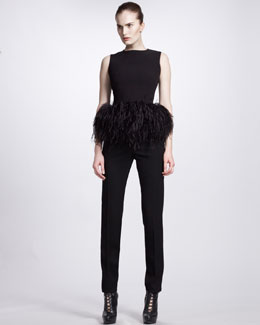 Alexander McQueen Feather-Peplum Top & Slim Zip-Ankle Pants