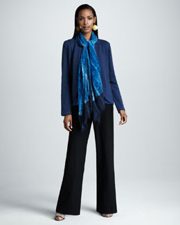 Eileen Fisher Felt Jacket, Silk-Charmeuse Tank, Gauzy Wool Scarf & Wide-Leg Pants, Women's