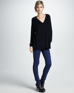 Vince Tunic Sweater & Five-Pocket Skinny Jeans