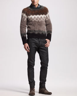 DSquared2 Wool-Mohair Sweater, Argyle Denim Shirt & Bull Oiled Black Jeans