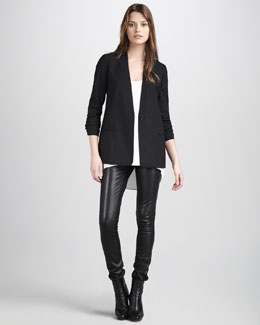 Vince Collarless Blazer, Silk Tank & Motorcross Leather Pants