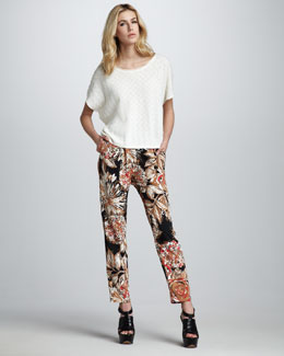 Trina Turk Wyman Short-Sleeve Sweater & Talia Printed Pants
