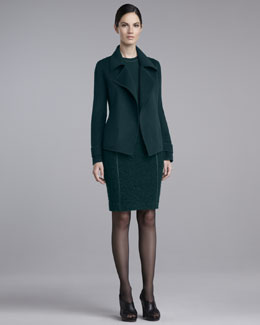 St. John Collection Short Double-Face Jacket & Milano Boucle-Bottom Skirt