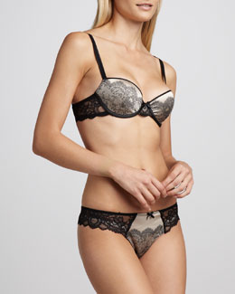 Chantelle Paris Satin-Jacquard T-Shirt Bra & Thong, Black/Nude