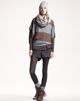 Brunello Cucinelli Metallic Striped Pullover, Fox-Pompom Hat & Flannel Shorts