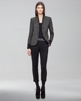 Akris Punto Faux Leather-Trimmed Two-Button Blazer, Tee & Frankie Pants