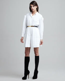 Maison Rabih Kayrouz Folded-Sleeve Shirtdress & Metal-Front Leather Belt