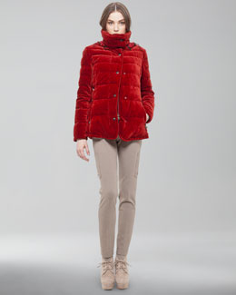 Akris Punto Velvet Puffer Jacket, Colorblock Turtleneck & Slim Knit Cargo Pants