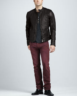 Diesel Leide Leather Jacket, Spotted Jersey Tee & Safado Jeans