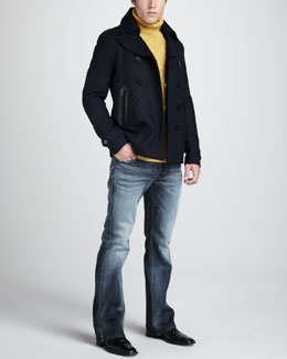 Diesel Wudy Felt Coat, Place Jacquard Turtleneck & Zathan Faded Jeans