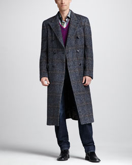 Etro Herringbone Double-Breasted Coat, Wool Sweater Vest & Easy-Fit Jeans