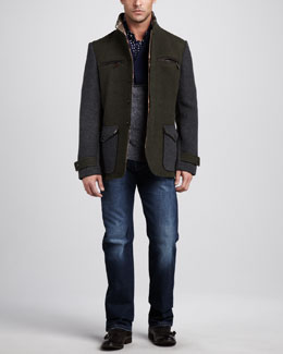 Etro Leather-Trim Safari Jacket, Colorblock Shawl-Collar Sweater & Easy-Fit Jeans