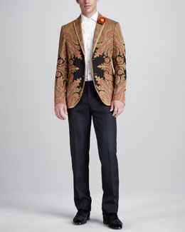 Etro Paisley Evening Jacket, Paisley-Embroidered Shirt & Tuxedo Pants
