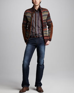 Etro Multi-Stripe Cardigan, Striped Sport Shirt & Easy-Fit Jeans