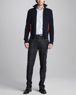 Etro Suede-Detail Sweater Jacket, Paisley-Jacquard Sport Shirt & Plaid Wool-Blend Cargo Pants