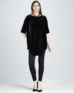Joan Vass Velour Tunic & Front-Seam Leggings