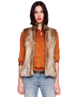 MICHAEL Michael Kors  Rabbit Fur Vest & Chain-Print Satin Blouse