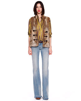 MICHAEL Michael Kors  Rabbit Toggle Vest & Feather-Print Tunic