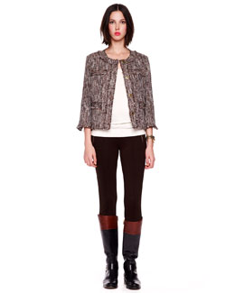 MICHAEL Michael Kors  Tweed Jacket, Scoop-Neck Sweater Tank, & Side-Zip Pants