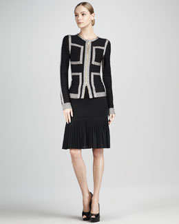Herve Leger Contrast Bandage Jacket & Pleated-Hem Bandage Skirt