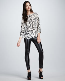 Kelly Wearstler Palermo Printed Top & Skinny Faux-Leather Pants