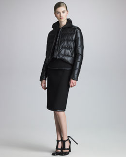 Christopher Kane Leather Puffer Jacket, Leather-Trim Crepe Tank & Skirt