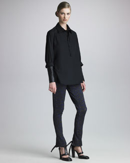 Christopher Kane Leather-Sleeve Cotton Shirt & Leopard-Print Skinny Pants