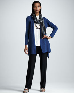Eileen Fisher Open Wool Jacket, Sleeveless Blouse & Washable-Crepe Straight-Leg Pants, Women's