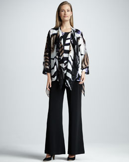 Caroline Rose Draped Safari-Print Jacket & Stretch-Knit Wide-Leg Pants, Petite
