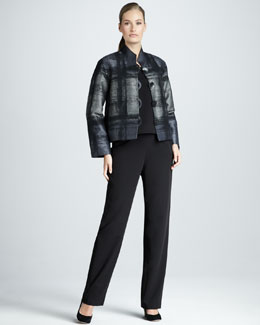 Caroline Rose Boxy Jacquard Jacket, Basic Stretch Tank & Straight-Leg Travel Pants