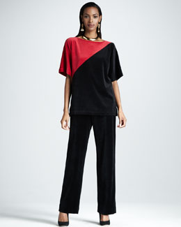 Joan Vass Velour Colorblock Tunic & Pants, Women's