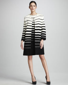 Adrienne Vittadini Striped Crepe Jacket & Tank Dress
