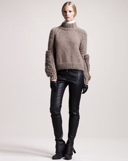 Belstaff Ilford Moto-Texture Cashmere Sweater, Ascot Georgette Blouse & Ledbury Leather Roadster Pants