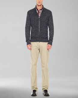 Michael Kors  Marbled Front-Zip Sweater, Check Chambray Shirt & Stretch Twill Pants