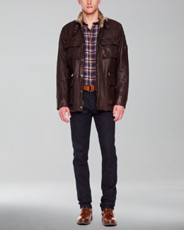 Michael Kors  Fur-Lined Leather Utility Jacket & Check Two-Pocket Shirt