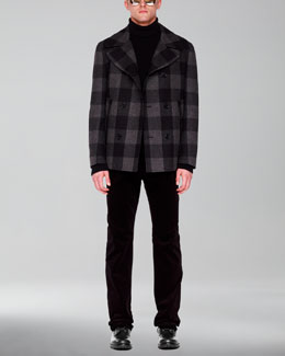 Michael Kors  Plaid Pea Coat, Mock-Neck Zip Sweater & Stretch-Corduroy Pants